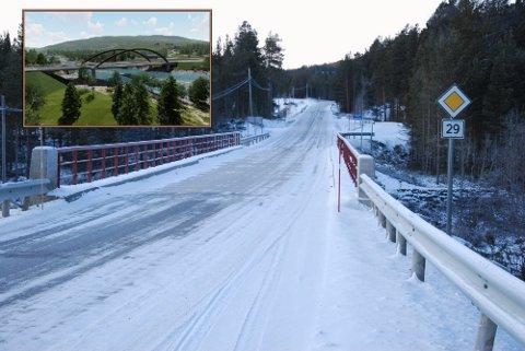 NY BRU: Dagens Einunna bru utgjør en flaskehals på fylkesveg 29. Nå planlegges en ny bru (innfelt).