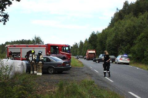 NØDETATENE PÅ STEDET: Alle nødetatene rykket ut til frontkollisjonen ved Myrasletta i Risør.