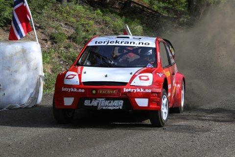SUR AVSLUTNING: Robin Slåttekjær, her fra bakkeløp forrige helg, hadde beste startspor i finalen, men ble nektet start for å skru på bilen i teknisk sone.