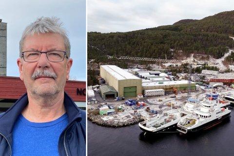HAR TRUA: Hyllestad-ordførar Kjell Eide har stor tru på det nye næringslivsprosjektet. Han håpar at det skal bidra til at færrast mogleg mister jobben og flyttar frå Hyllestad. TIl høgre hjørnesteinsbedrifta Havyard, som i 2021 må sjå 100 tilsette forsvinne.