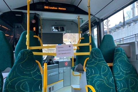 Dette bildet er frå linje 12 i Bergen, fredag 13.03.