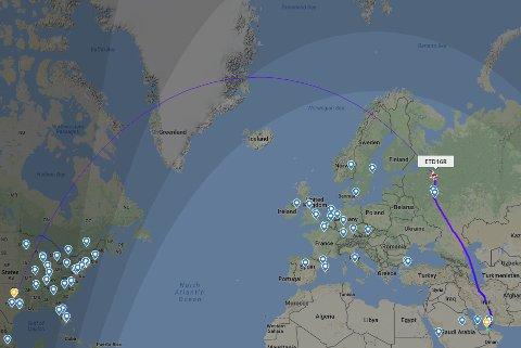 Etihads rute fra Abu Dhabi til Dallas passerer i luftrommet over Skjomen og Vesterålen i sin transatlantiske ferd.