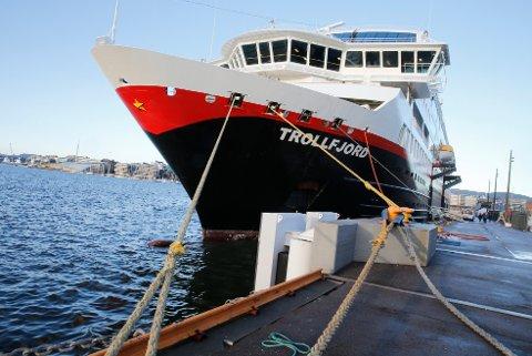 Oslo  20150108. MS Trollfjord ligger til kai i Oslo. Foto: Terje Pedersen / NTB scanpix