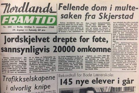 Forsiden av Nordlands Framtid 3.september 1968.