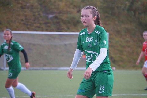 Marthe Hansen var i det umulige hjørnet, og satte inn fire mål da Innstranda slo Bossmo 6-2 i cupen onsdag kveld. Foto: Anja Monsvoll Eilertsen