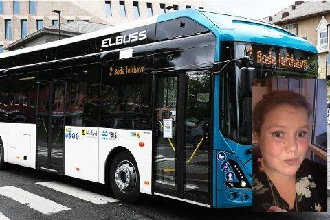 Christina Aaseli fra Seines etterlyser én daglig rute mellom Seines og Bodø og tror flere i lokalsamfunnet kunne hatt behov for det. Bildet av bybussen i Bodø er et illustrasjonsbilde.