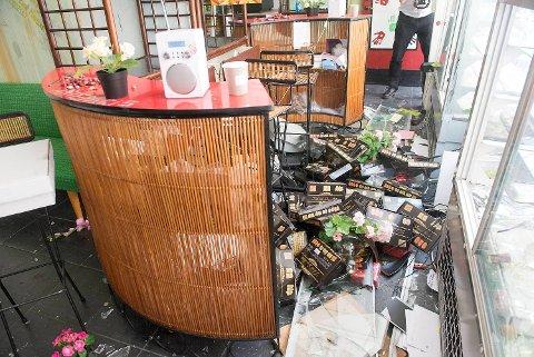 Det ble gjort store skader på bakeriet i Sverres gate søndag formiddag.