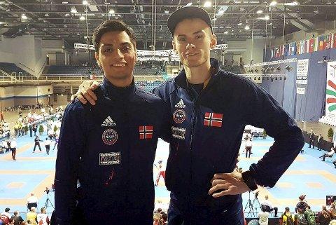 To av kickbokserne fra Bergen Kickboxing Klubb, Milad Henriksen og Johan Hjelmvervik, på plass i VM i Budapest i Ungarn.