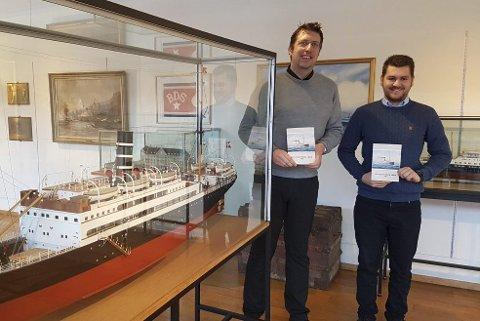 Sjøfartshistorisk bok 2016 er klar, og Per Kristian Sebak (t.v.)  og  Mats  Fromreide Svendsen har hver sin artikkel. Sistnevnte skriver om  BDS  sin cruisevirksomhet i mellomkrigstiden.(Foto: SJØFARTSMUSEET)