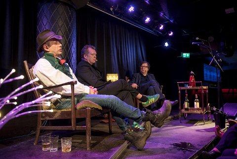 Leif Einar Lothepus Lothe, Frode Grytten og Finn Tokvam hyllet Vestlandet på scenen under Folk og Finn onsdag kveld.