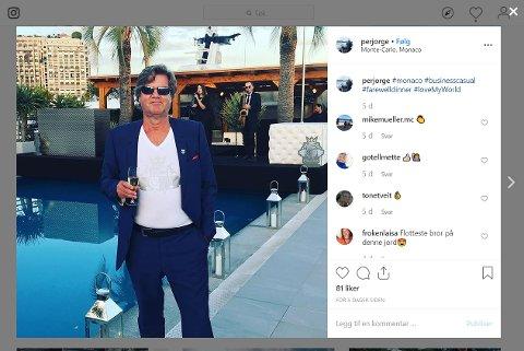 Per Jørgensen i skatteparadiset Monaco, bilde fra Instagram.