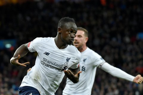 Liverpool's Sadio Mane celebrates after scoring his side's second goal during the English Premier League soccer match between Aston Villa and Liverpool at Villa Park in Birmingham, England, Saturday, Nov. 2, 2019. (AP Photo/Rui Vieira)