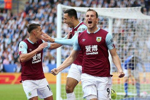 Burnley-spiss Chris Wood (th.) har scoret i alle sine fire Premier League-kamper mot West Ham.