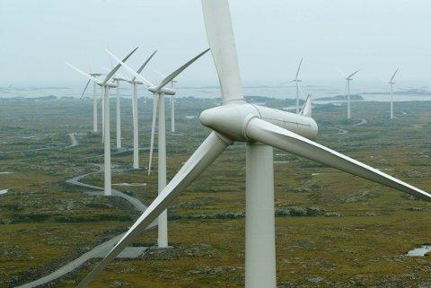 Den planlagte vindparken i Nordhordland kan bli Europas største vindkraftverk på land. Illustrasjonsfoto: Bjørn Sigurdsøn / NTB scanpix