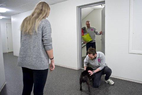 Her får hunden Rocky fôr levert på døren av daglig leder Roger Holthe Olsen (i døren) og produktsjef Øyvind Eriksen i Dyrekassen. Hundeeieren heter Madeleine Sunde.
