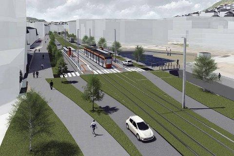 Denne illustrasjonen viser bybanetraseen med kanal og nye gang - og sykkelveier gjennom Kanalveien.
