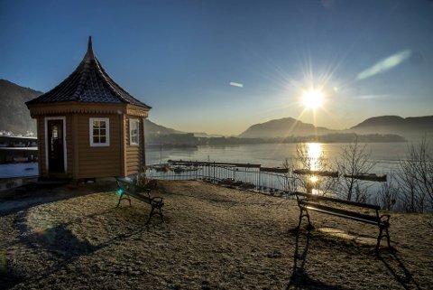 Nydelig vintervær i Bergen onsdag sett fra Gamle Bergen.