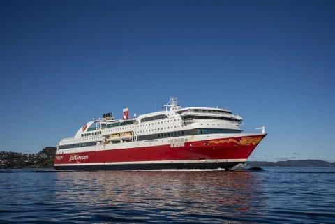 Danskebåten like før de stengte ruten mellom Bergen og Hirtshals, oktober 2020.