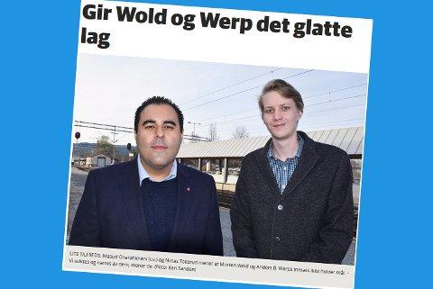 Skjermdump fra bygdeposten.no 8. april.