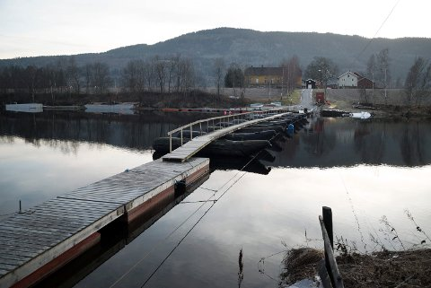 PÅ PLASS: Flytebru til Langesøy er på plass, noe naboene ikke nølte med å varsle Drammen kommune om. Grunneier Reidar Olav Stenersen sier den er nødvendig, men at det er siste vinteren den skal brukes.