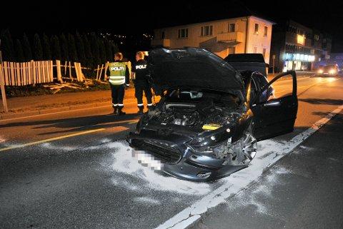 KRASJ: En av de to bilene som var involvert i krasjen med fører.