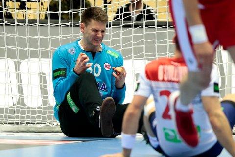 Torbjørn Bergerud fra Røyken gjorde en solid jobb for Norge fredag kveld.