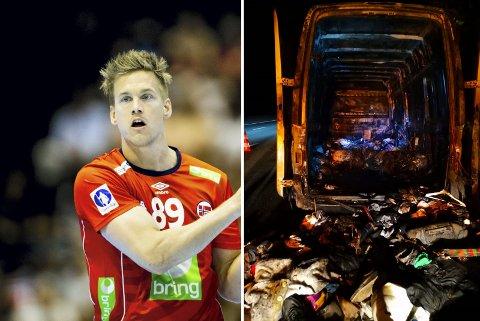 Espen Lie Hansen ble sjokkert da han fikk høre at alt han eide var borte. Bildet til høyre viser hvordan flyttebilen så ut.
