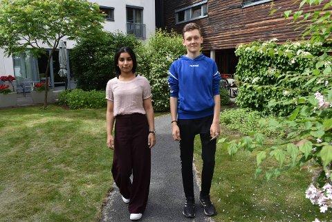 SOMMERJOBB: Sima Naz Kasee (16) skal bruke pengene hun tjener i sommer på shopping i Tyrkia, mens Sondre Kristensen (14) skal spare pengene til førerkort.