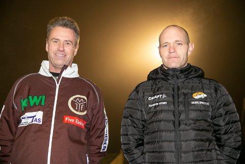 LOKALOPPGJØR: Mjøndalen-trener Bent Gommerud (t.v.) gjør Solberg og Thomas Moen til forhåndsfavoritter før lokaloppgjøret på Solbergbanen andre juledag.