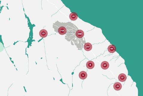 Kartet viser abonnenter på Flateby som er berørt av strømstans i dag.