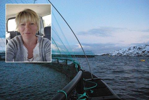 VISER MOTSTAND: Heidi A. Persen syns det er viktig å vise motstand mot oppdrettsanlegget som Grieg Seafood har etablert i Vedbotn.