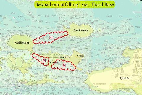 KUBIKKMETER: Innafor dei raude krusedullane skal Fjord Base fylle ut steinmasse i sjøen.