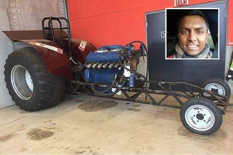 GRÅTASS: – Vi kjøpte den tidleg i vår, og skulle bygge den om i tide til Trøkk n'Truck. Det rakk vi dessverre ikkje, seier Dennik Gnananantham (31).