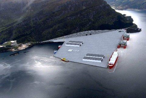 HOLMANESET: Ei skisse over den tidlegare planlagde Bremanger Base på Holmaneset i utløpet av Nordgulen.