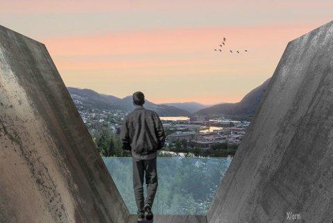SYMBOLSK: Utsiktspunktet blir ei bru til utsyn over byen, fjorden, fjella og dalen, fortel initiativtakarane. V-forma symboliserer også førdefolks vidsyn, ei evne til å sjå utover seg sjølv, fortel styreleiaren. (Illustrasjon: Christina Kvamme)