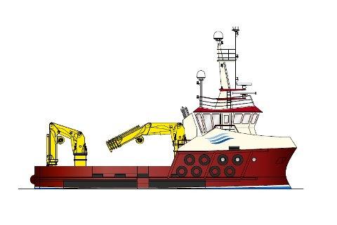 ARBEIDSBÅT: Profil av den 23 meters arbeidsbåten som skal byggast i Leirvik. Breidd: 9,7 m. Dekkskapasitet: 80 tonn. Hovudmaskin: 1000 kW. Mannskap: 6 personar.