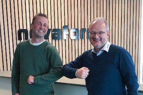 TETT PÅ: Frå august av vil Novaform vere på plass i Førde for å tilby prosjektadministrasjon for byggeprosjekt. Det er viktig å vere nær kunden, seier regionsjef Jon Sigve Sundnes (t.h.). Her saman med Jim Kristiansen, som blir dagleg leiar på Førde-kontoret.