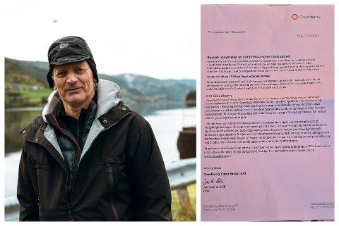 HAST: Helge Kårstad reagerte på denne innkallinga frå energiselskapet Cloudberry.