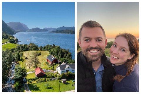 EIGARAR: No er Torbjørn Vereide og Karina Evenrud Jørgensen både nygifte og nyferske eigarar av dette småbruket ved Førdefjorden.