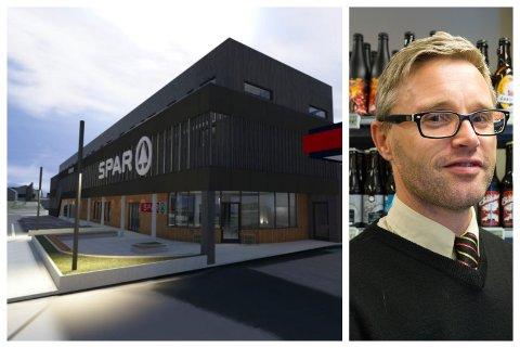 SATSAR: Eirik Hjelmbrekke planlegg 15 leilegheiter på toppen av matbutikken på Jølstraholmen. Prislappen ligg på fleire titals millionar.