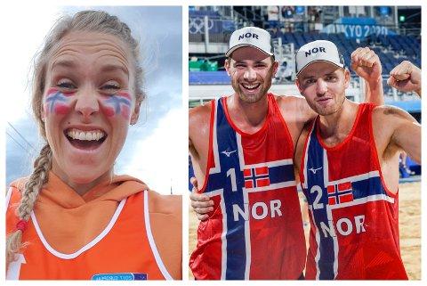 FULL JUBEL: Randi Marie Berntsen Farnes kunne juble etter at Anders Berntsen Mol og Christian Sørum sikra eit imponerande OL-gull med 21-18 i siste sett.