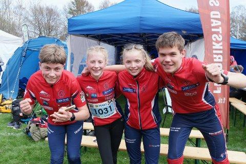 Flinke FSK-ungdommer. Fra venstre: Sivert Poppe, Emma Sofie Steinsland, Embla Øvretveit og Kristoffer Helminsen.