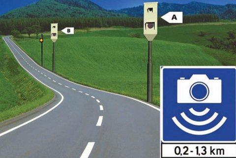 Strekningsmålinger har blitt tatt i bruk en rekke steder i Norge. Her måles farten du kjører i mellom to bokser. Er den høyere enn fartsgrensen, blir det bot. Illustrasjon: Statens vegvesen.