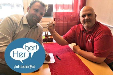 STIVE SMIL: Arne Sekkelsten (H) og Vidar Schei (Ap/LO) sparte ikke på kruttet, og debatterte blant annet rolleblanding og misunnelse så gnistrene føyk.