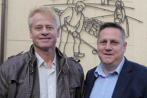 Nytt tospann: Senterpartiets Johan Edvard Grimstad (til venstre) blir varaordfører og skal lede Råde kommune de neste fire årene sammen med ordfører René Rafshol (H). (Foto: Øivind Lågbu)