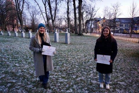 BLE HEDRET: I år gikk Fredrikstad kommunes kulturstipend til proffdanser Live Skullerud (t.v) og idrettstipendet fikk Atlas-bryter Othelie Annette Høie.