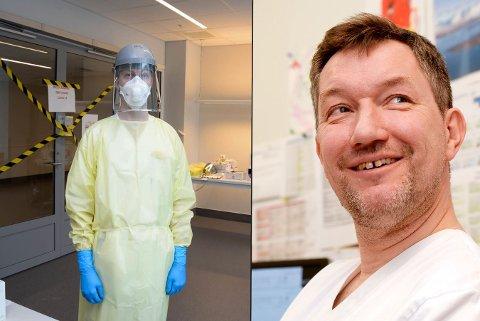 VIL HA EVALUERING I ETTERKANT: Til venstre: Smittvernutstr som brukes ved UNN. Til høyre: Avdelingsleder Gunnar Skov Simonsen ved UNN.