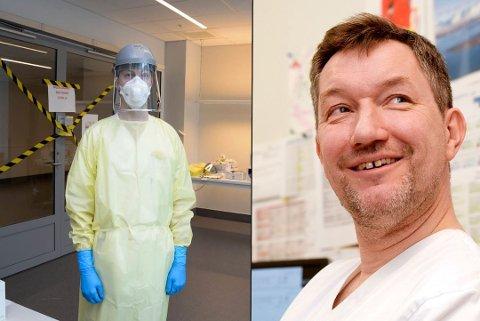 ANALYSERER: Smittvernutstyr som brukes ved UNN. Til høyre: Avdelingsleder Gunnar Skov Simonsen ved UNN.