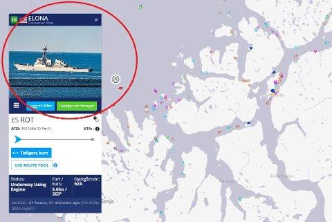 FALSK ID: Den amerikanske destroyeren USS Arleigh Burke ga seg ut for å være containerskipet Elona - som ikke eksisterer lengre. Illustrasjon: Marinetraffic.com