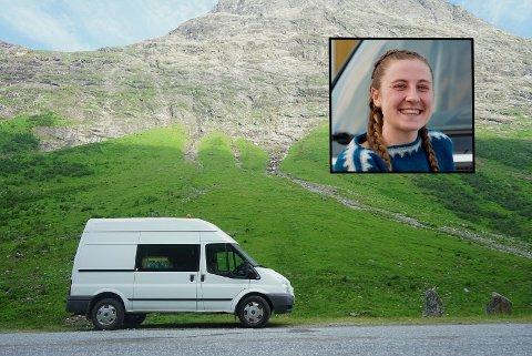 MOBILT HJEM: Tuva Bjørnstad reiser Norge på langs i sitt eget hus på fire hjul.